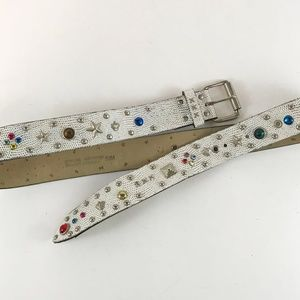 FUN: Distressed White Pressed Leather Studded Belt